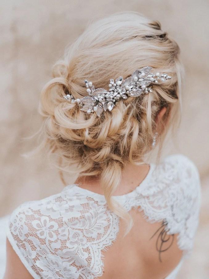 "bridal hair comb, bridal hair accessories, wedding hair accessories - ""bailey"" medium beaded bridal leaf hair comb silver, gold, rose gold"