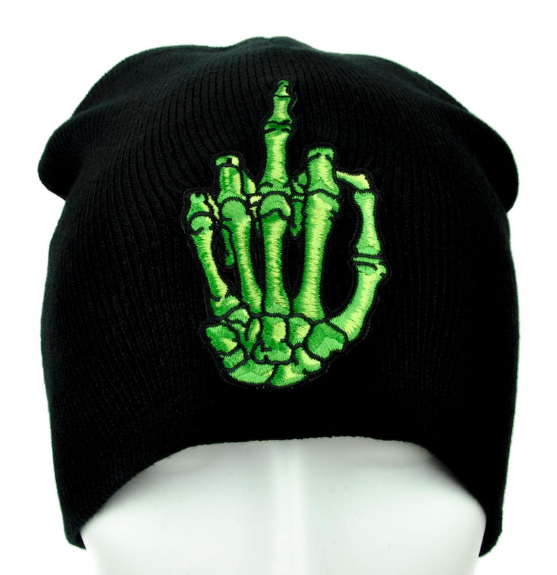 green skeleton hand middle