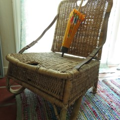 Canoe Chair Breakfast Table And Chairs For Two 1920s Wicker Seats Folding Fishing Creel Etsy Image 0