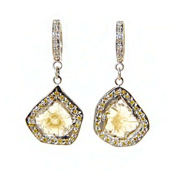 Diamond Slice Earrings Yellow Diamond Earrings Diamond