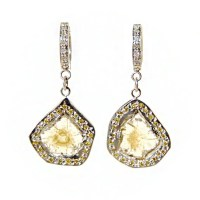 Diamond Slice Earrings Yellow Diamond Earrings Diamond