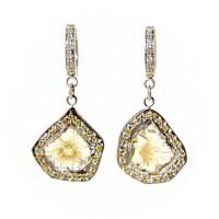 Diamond Slice Earrings Yellow Diamond Earrings Diamond | Etsy