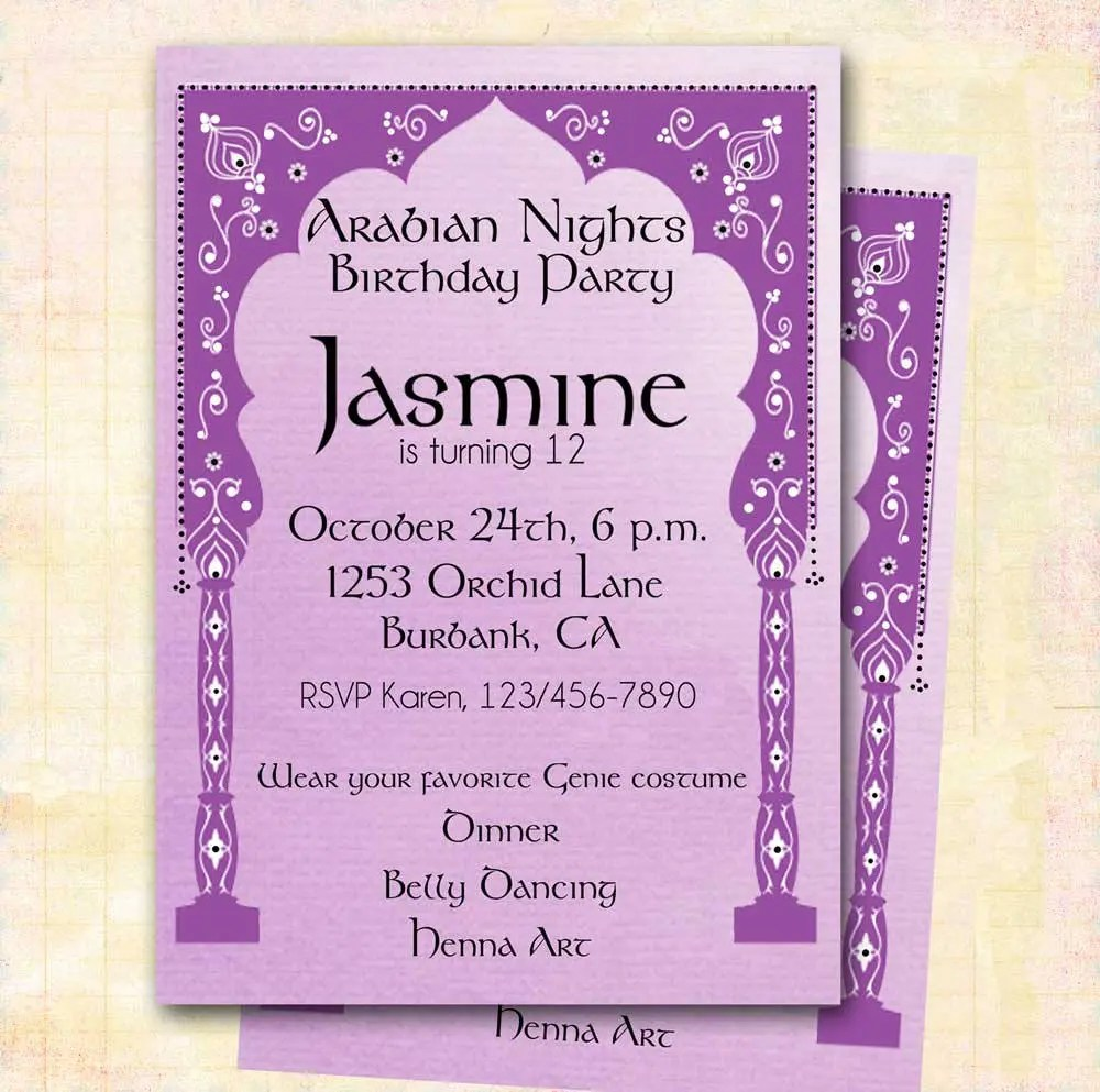 Arabian Nights Invitation DIY Custom PrintableGirls Etsy