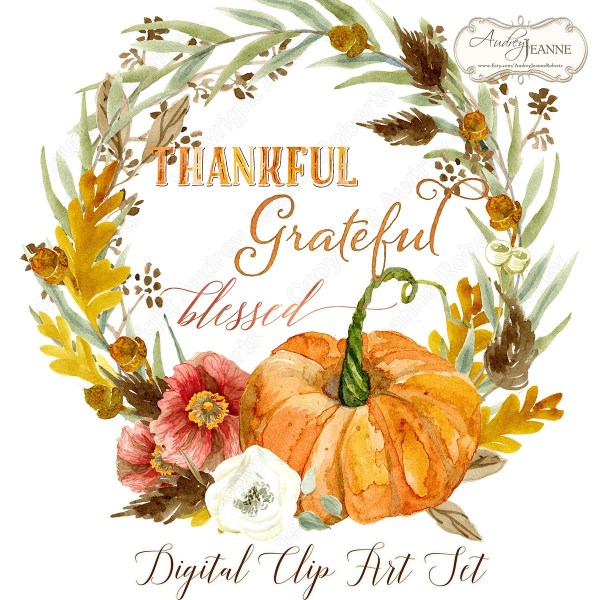 watercolor fall wreath digital