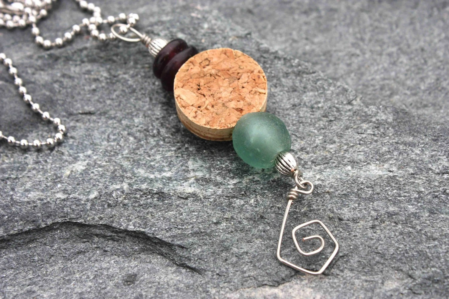 Items Similar To Upcycled Wine Cork Jewelry- Cork And Blue