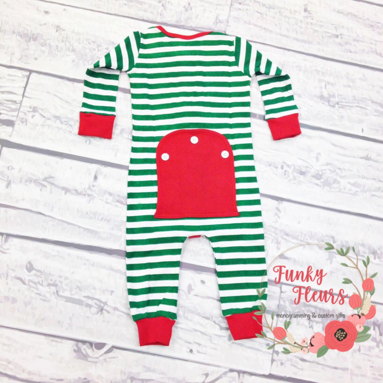 7c05a92cf Christmas Pajamas Long Johns One Piece Romper Monogram Baby Toddler Pajamas  Red Pajamas Matching Pjs Family