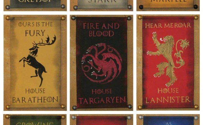 House Name And Motto Game Of Thrones Nine Banner Bundle Etsy