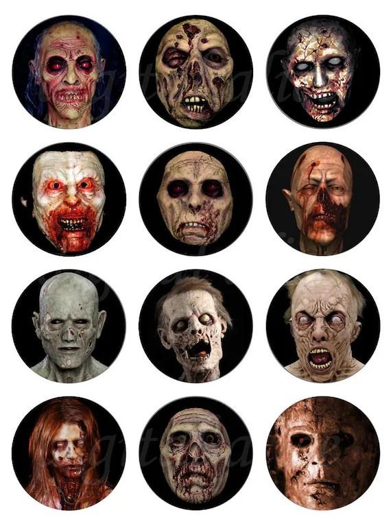 Scary Zombies Craft Circles Creepy Dead Zombie Head Faces Etsy