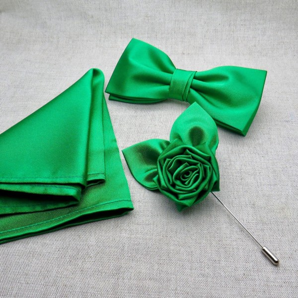Jade Green Bow Tie Set Rose Lapel Pin & Pocket Square