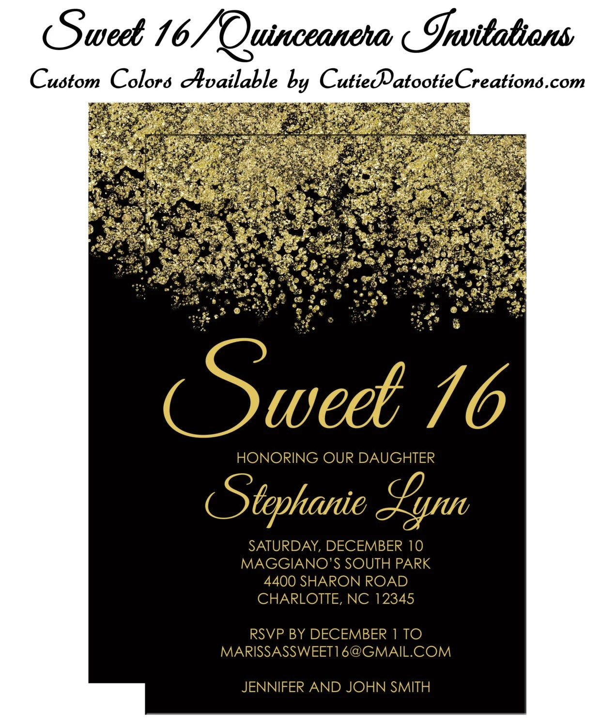 sweet 16 invitations quinceanera invitation red and gold sparkle faux glitter sweet sixteen guest return addressing available