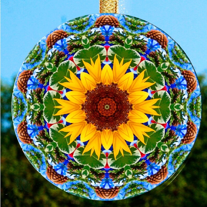 glass suncatcher decor sunflower home