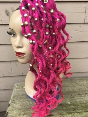dirty fuschia de synth dread hair