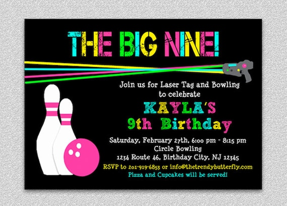 laser tag bowling birthday invitation