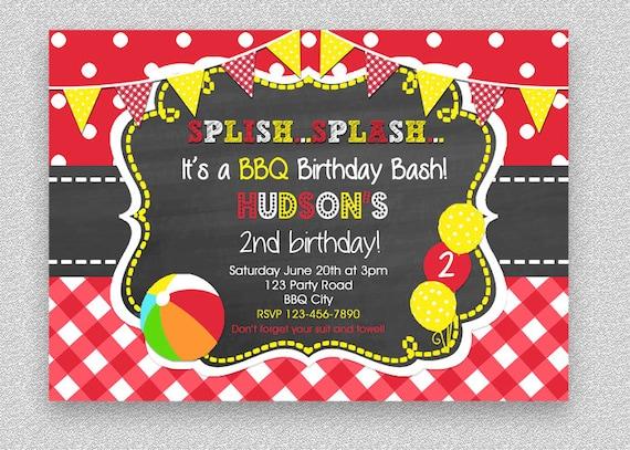 bbq birthday invitation bbq pool