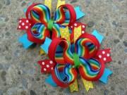 rainbow hair bow set 2 loopy flower