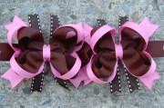 pink and brown hair bow boutique
