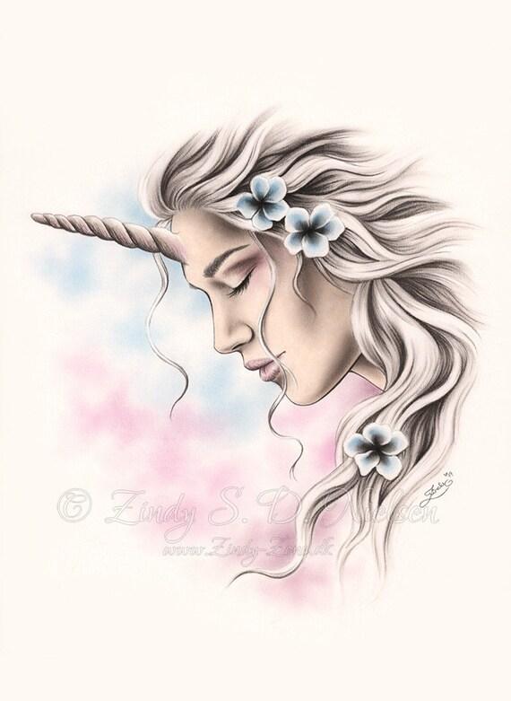 Unicorn Girl Pictures : unicorn, pictures, Unicorn, Dreamer, Fantasy, Flower, Print