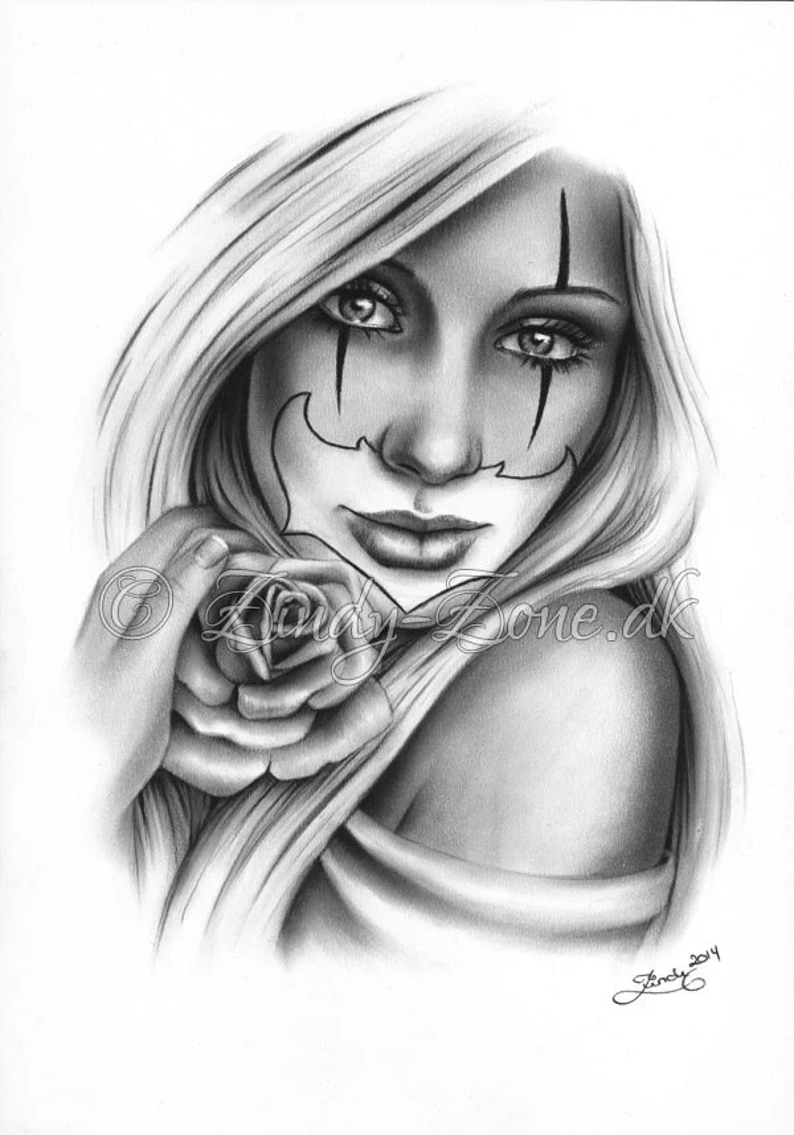 96b05a5659c14 Sweet Chicano Tattoo Clown Girl Rose Art Print Glossy Emo Fantasy Girl  Zindy Nielsen