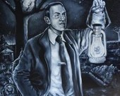 H.P. Lovecraft in a cemetery Portrait