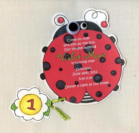40 Lady Bug Inviti Festa Di Compleanno Tagliati A Mano E Personalizzato