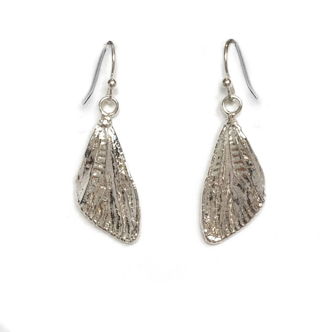 Small Sterling Silver Cicada Wings Dangle Earrings (ED-SSCW)