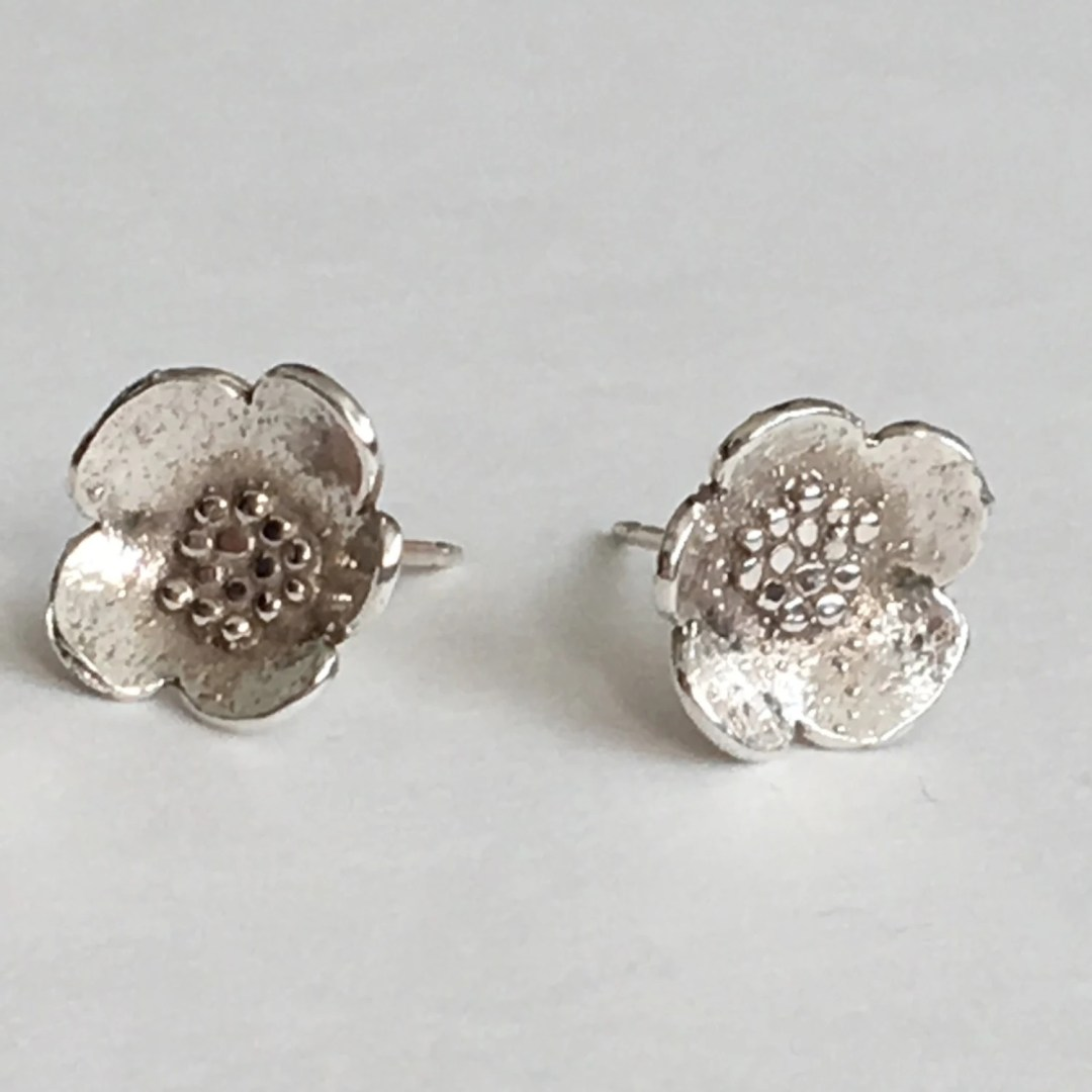 Small Sterling Silver Granulated Blossom Post Earrings (EP-SSGB)