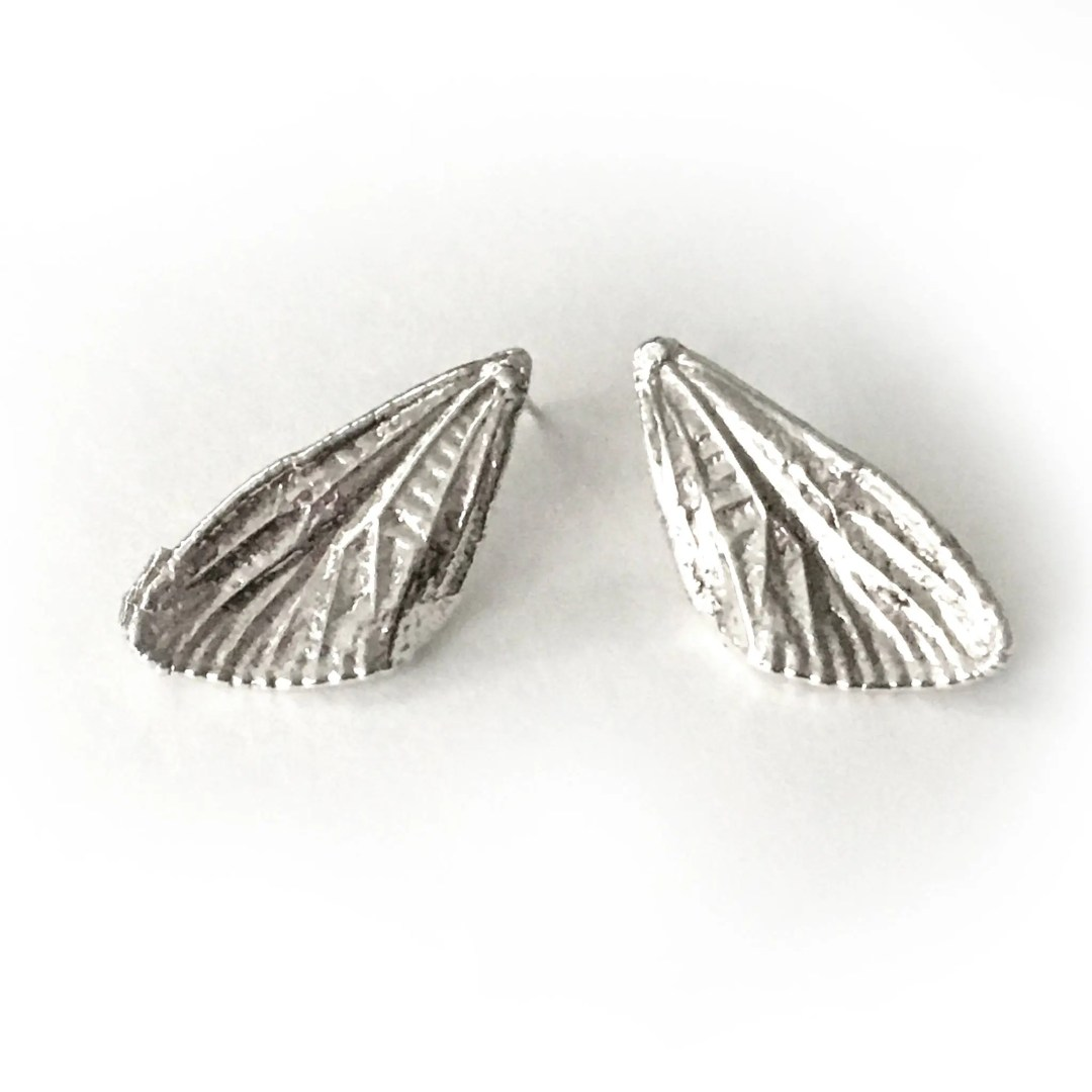 Small Sterling silver Cicada Wings Post Earrings (EP-SSCW)