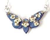 Silver Blossom and Enamel Cicada Pendant (necklace)