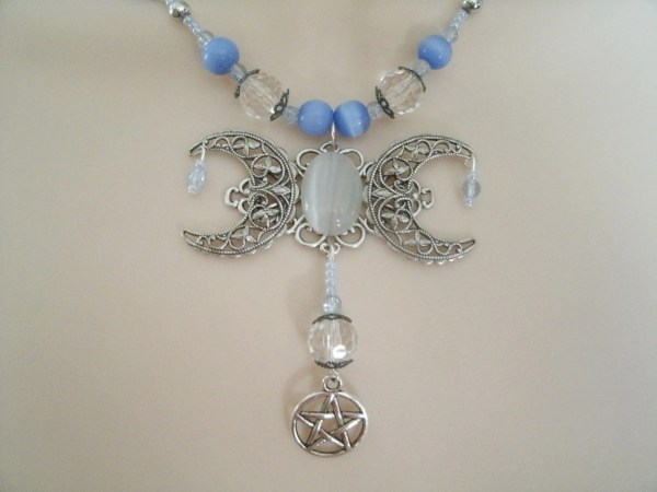 Triple Moon Goddess Pentacle Necklace Wiccan Jewelry Pagan