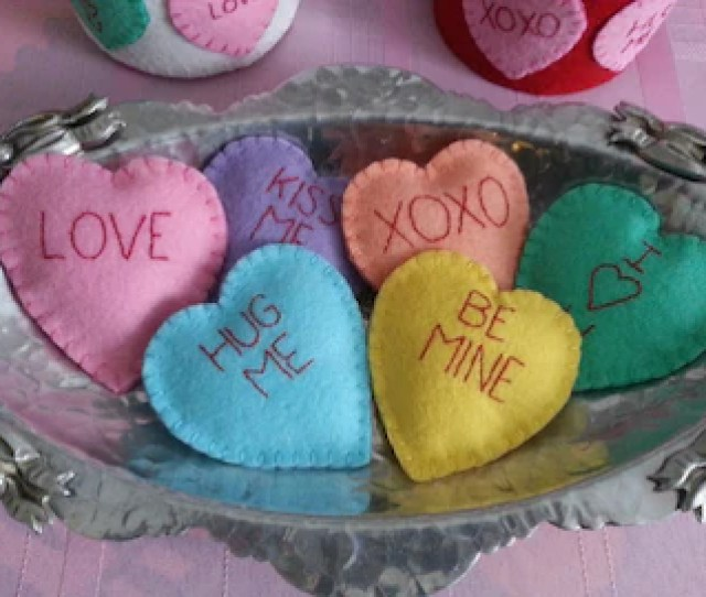 Valentine Conversation Hearts Wool Felt Bowl Fillers Set Of  Hearts
