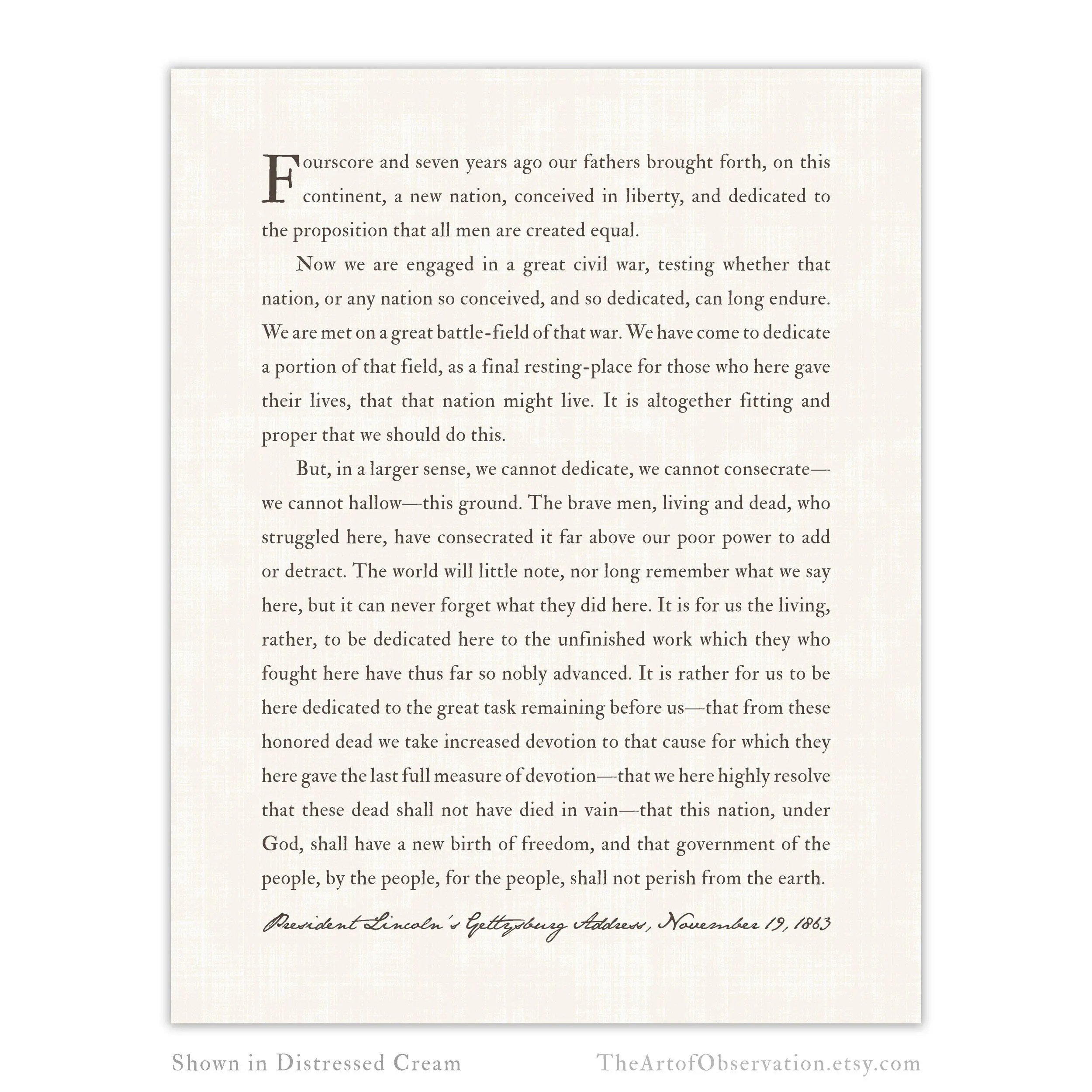 Gettysburg Address Print Abraham Lincoln Inspirational