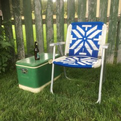 Antique Lawn Chairs Dining Chair Covers Kmart Australia Retro Etsy Vintage Macrame With Blue White Design Patio