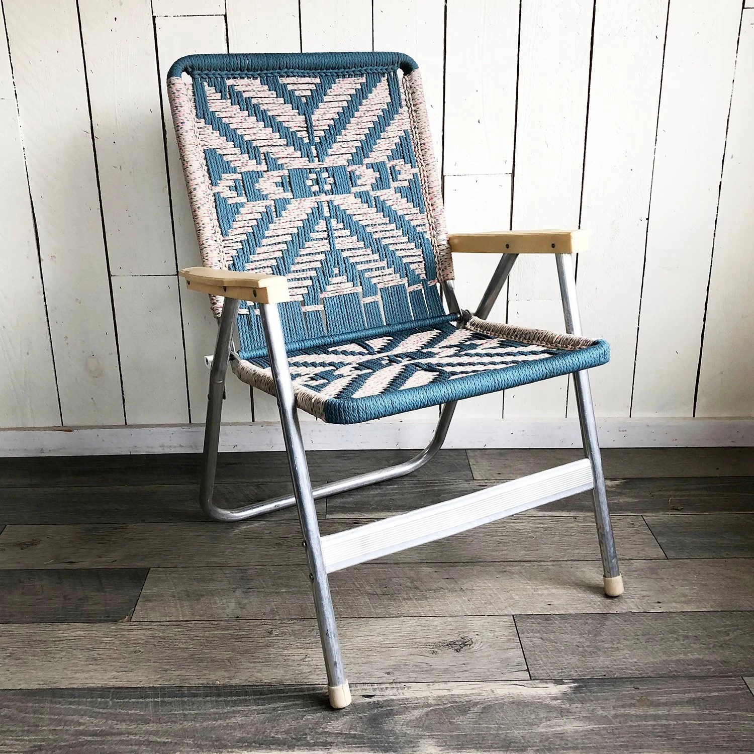 macrame lawn chair white table and set vintage macramé with teal beige design
