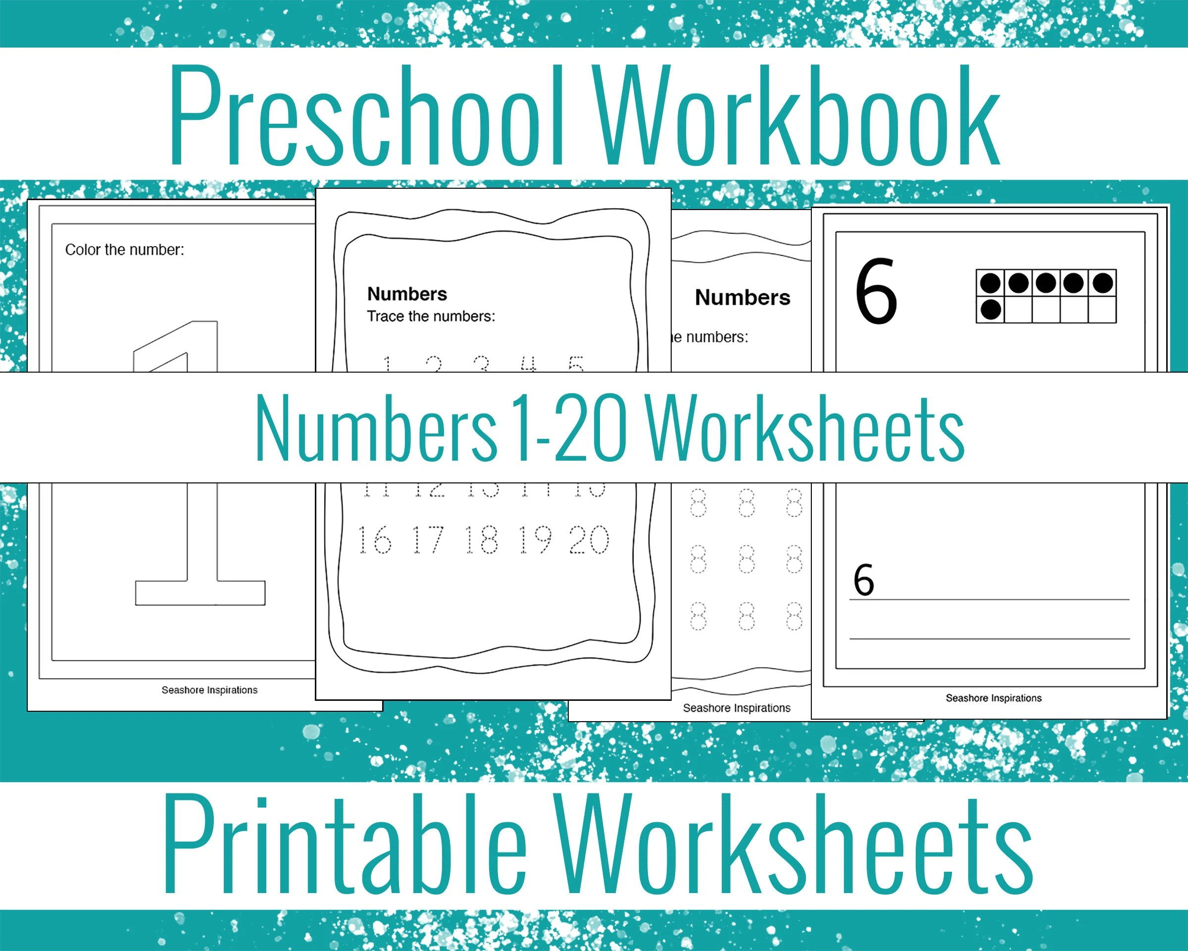 Preschool Workbook Numbers Worksheets Numbers Tracing