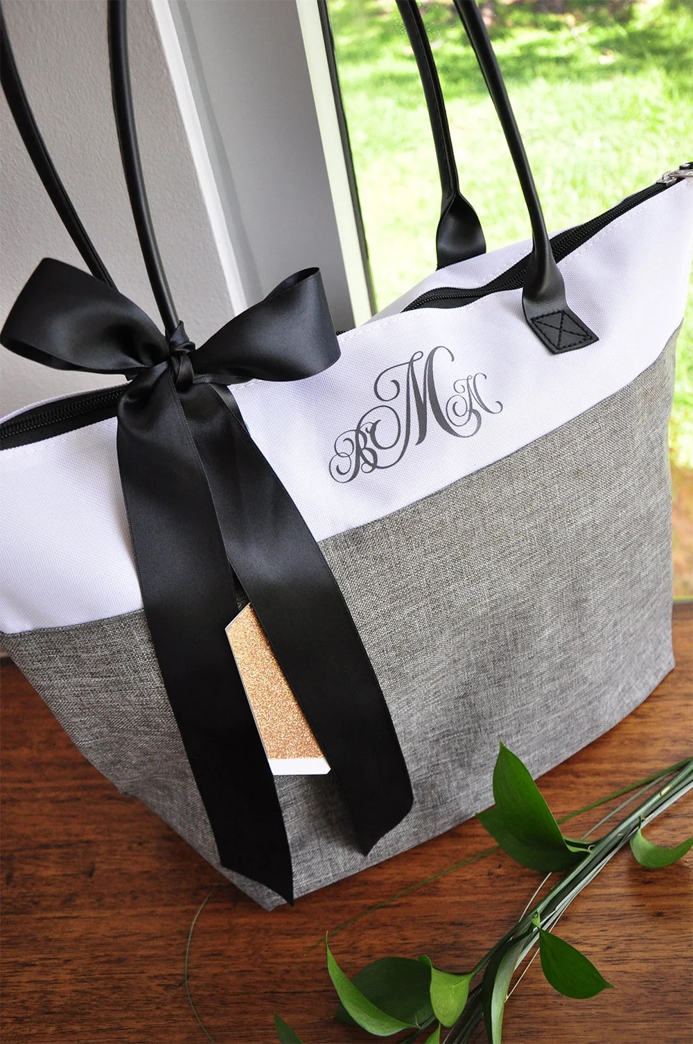 Personalize Tote Bag for Bridesmaids Qty. 1. Monogram Tote image 3