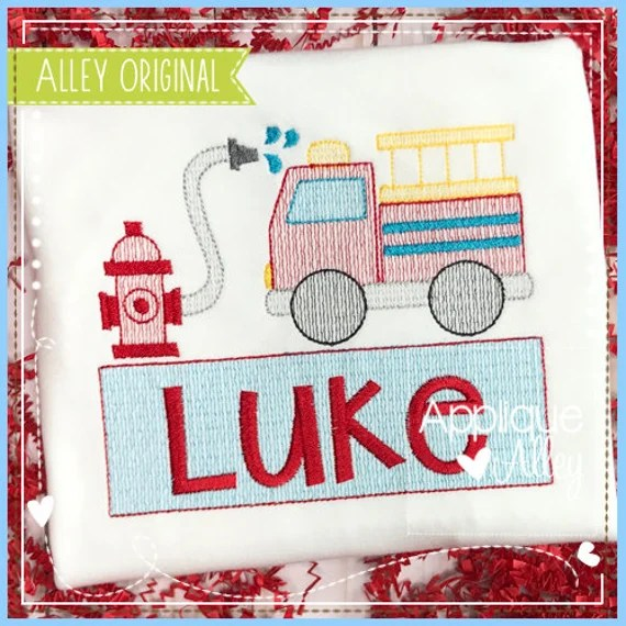 Scratchy Sketchy Fire Truck Trio With Nameplate For Embroidery Digital Design For School Quick Stitch
