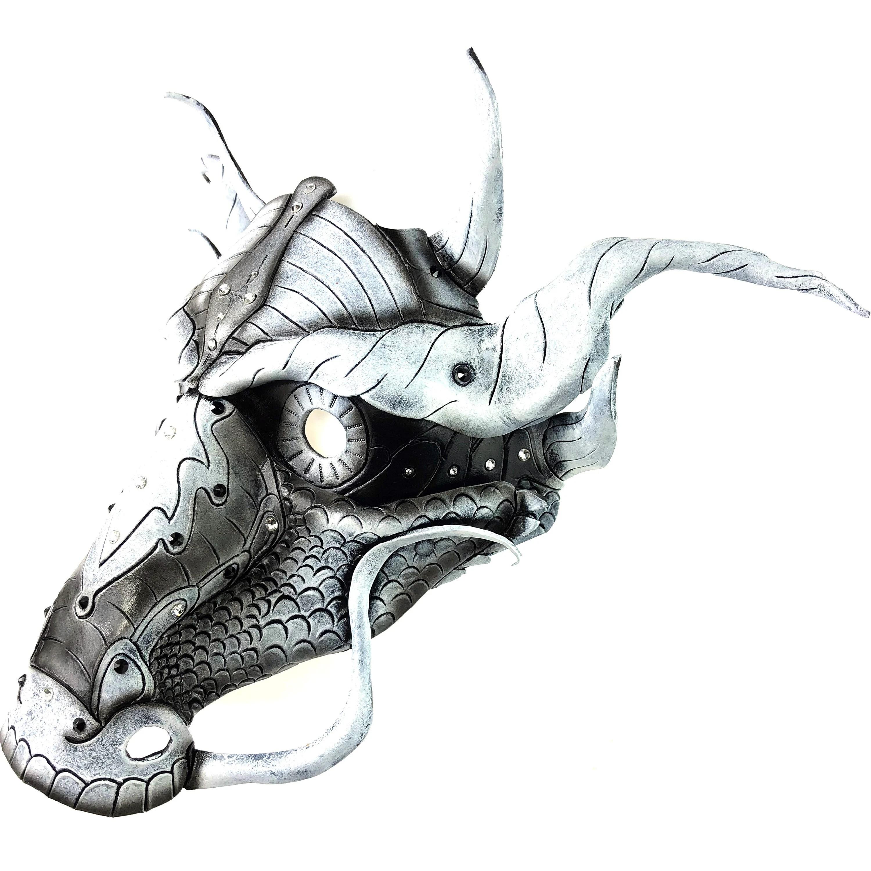 Monochrome Ancient Chinese Dragon Design with Swarovski