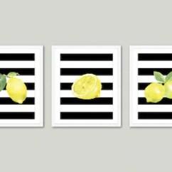Modern Kitchen Art Design House Faucets Lemon Prints Wall Watercolour Etsy Watercolor Lemons Set Of 3 Yellow Black And White Decor Aldari