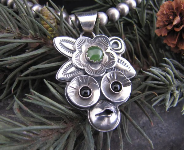 Mona Lisa Forest Fairy Monkey Sterling Silver Amulet With