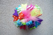 custom hair bow colorful ribbon