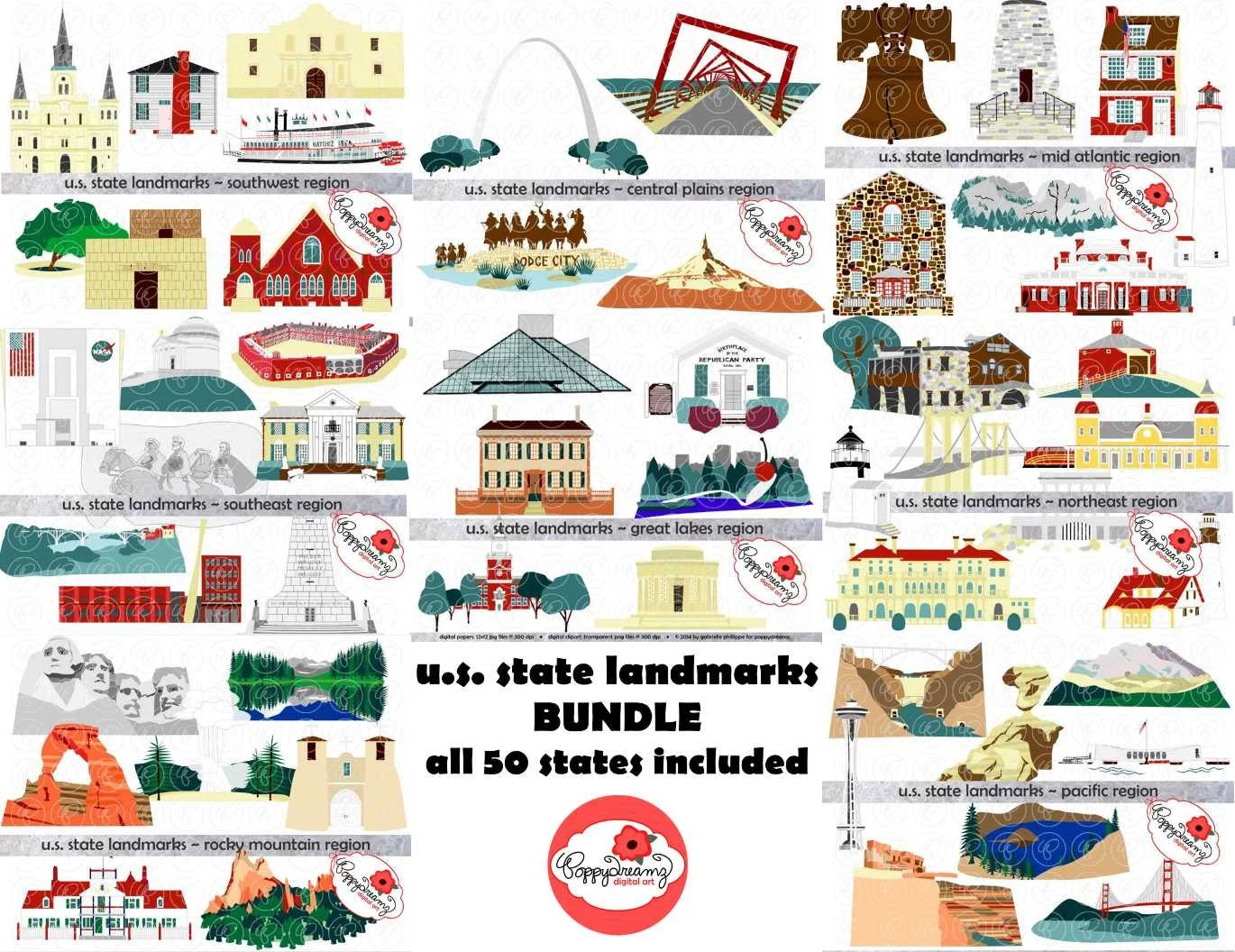 U S State Landmarks Mega Bundle Digital Clipart Pack 300