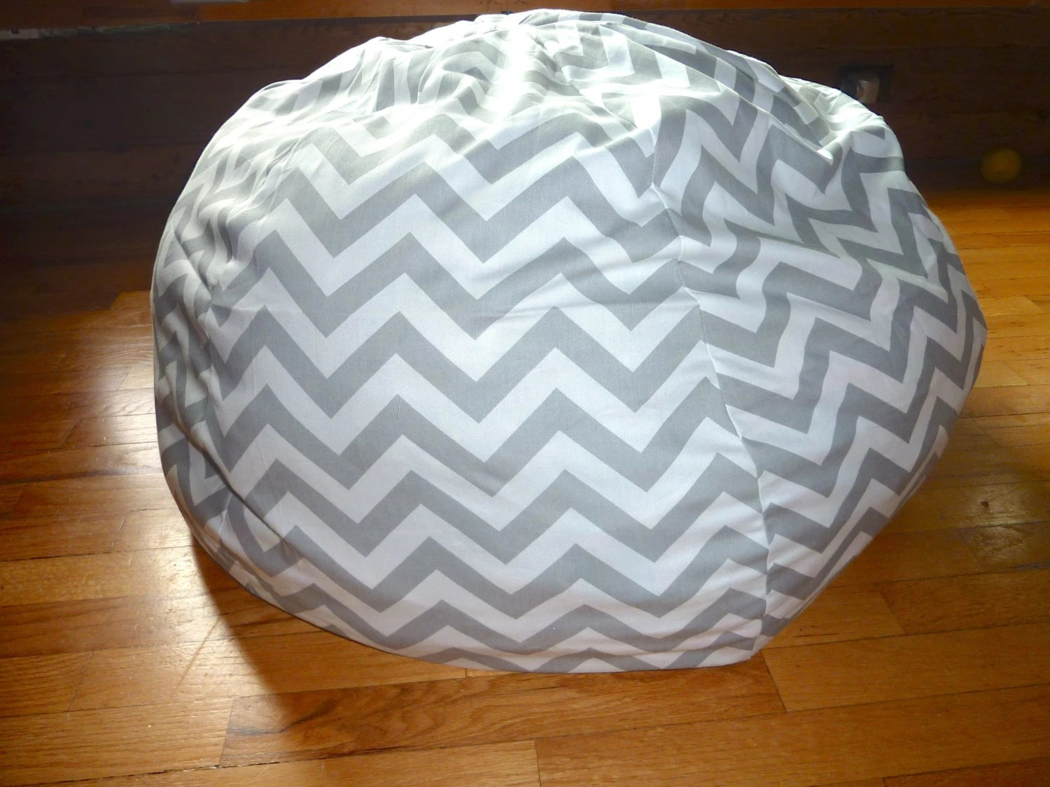 bean bag chair covers ergonomic for sale grey white chevron cover silver gray red etsy image 0