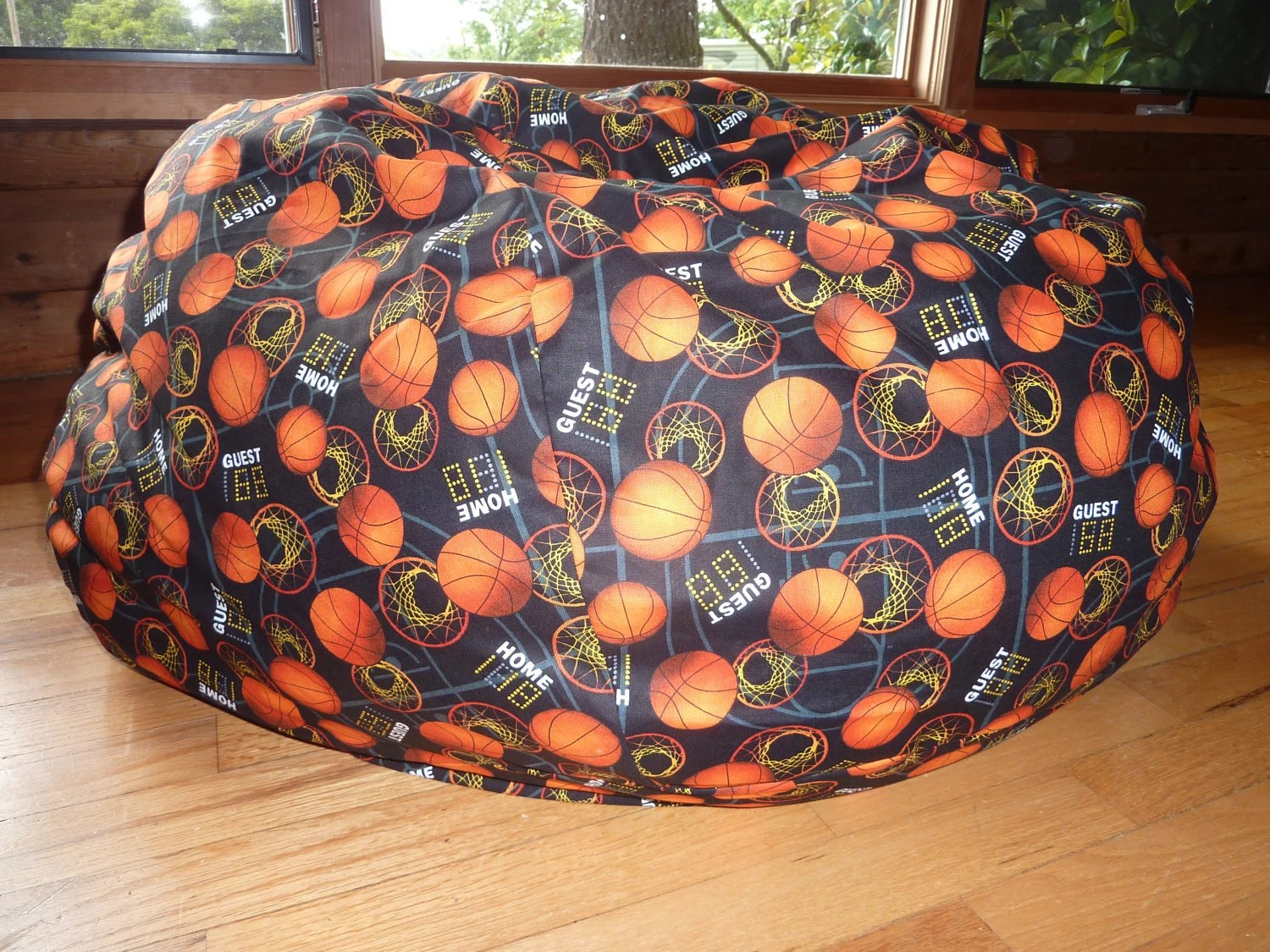 Basketball Bean Bag Chair Cover Basketball Hoops Orange