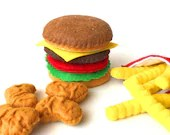 Felt food, Hamburger french fries chicken nuggets set, eco friendly pretend play food play kitchen, felt hamburger, felt bbq, toy hamburger