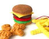 Felt food, Hamburger french fries chicken nuggets set, eco friendly pretend play food play kitchen, felt hamburger, felt bbq, toy hamburger