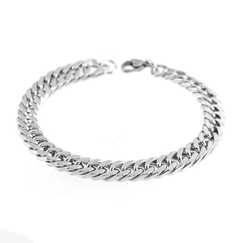 Stainless steel linked chain bracelet / silver bracelet