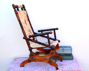 rocking chair antique styles hooded hair dryer with etsy victorian platform rocker vintage turned wood eastlake floral barkcloth casters works perfectly