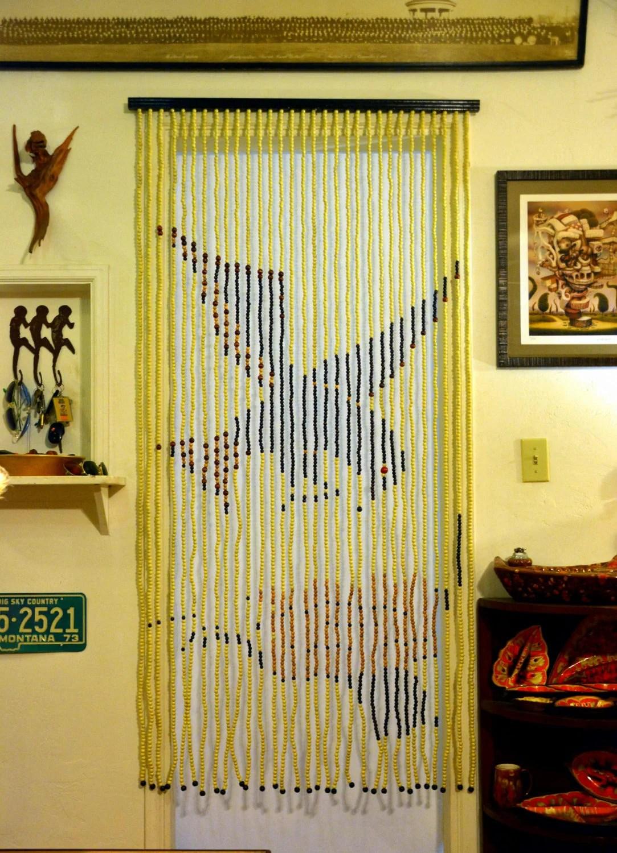 vintage deadstock bead door curtain nos 70s fringe doorway room divider bird flower natural organic boho gypsy hippie chic