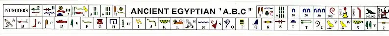 Hieroglyphic alphabet and number stickers