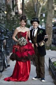 Steampunk wedding dress- red wedding dress- alternative wedding dress- made to measure